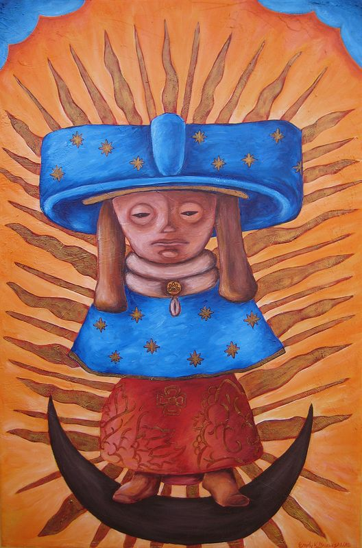 Acrylic painting Tonantzin Teotihuacana (Teotihuacana Revered Mother) by Emily K. Grieves