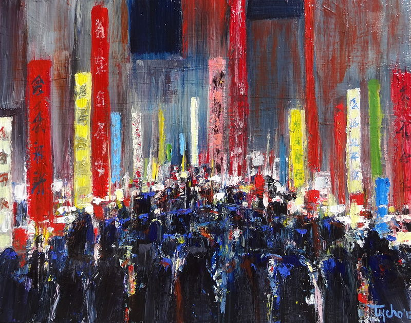Acrylic painting Asakusa by David Tycho