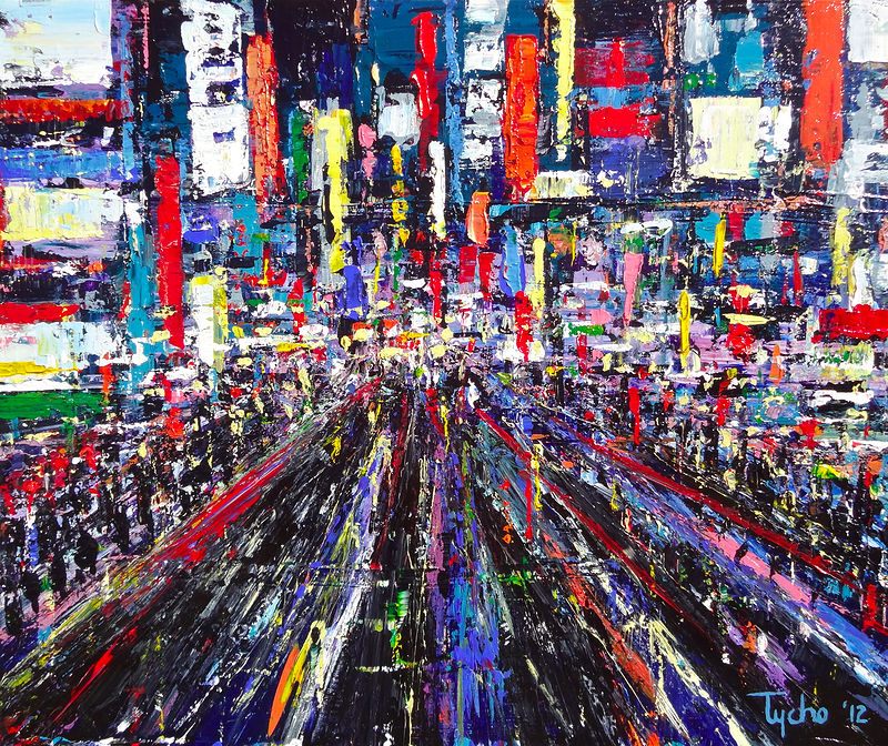 Acrylic painting Shinjuku #4  by David Tycho