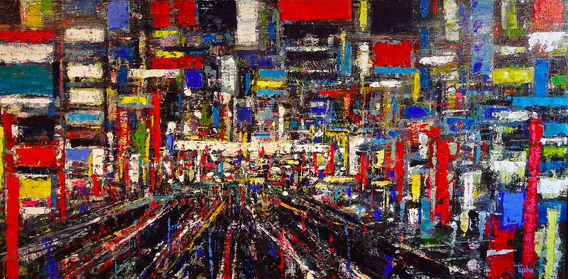 Acrylic painting Shinjuku #5 by David Tycho