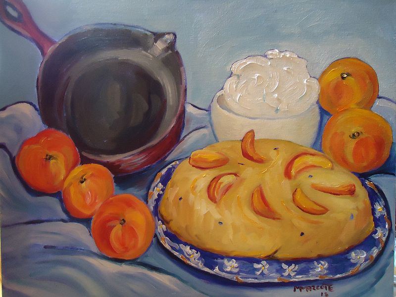 Oil painting Peach Upside-Down Cake Scented with Lavender by Michelle Marcotte
