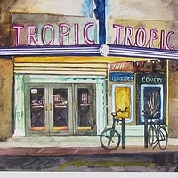 Watercolor The Tropic at Night by Paul Sershon