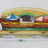 Watercolor Nomadic Wiener  (study) by Paul Sershon