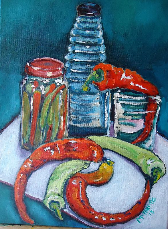Oil painting Hot Pickled Peppers by Michelle Marcotte