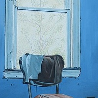 Oil painting Chair in Blue Room by David B. Scott