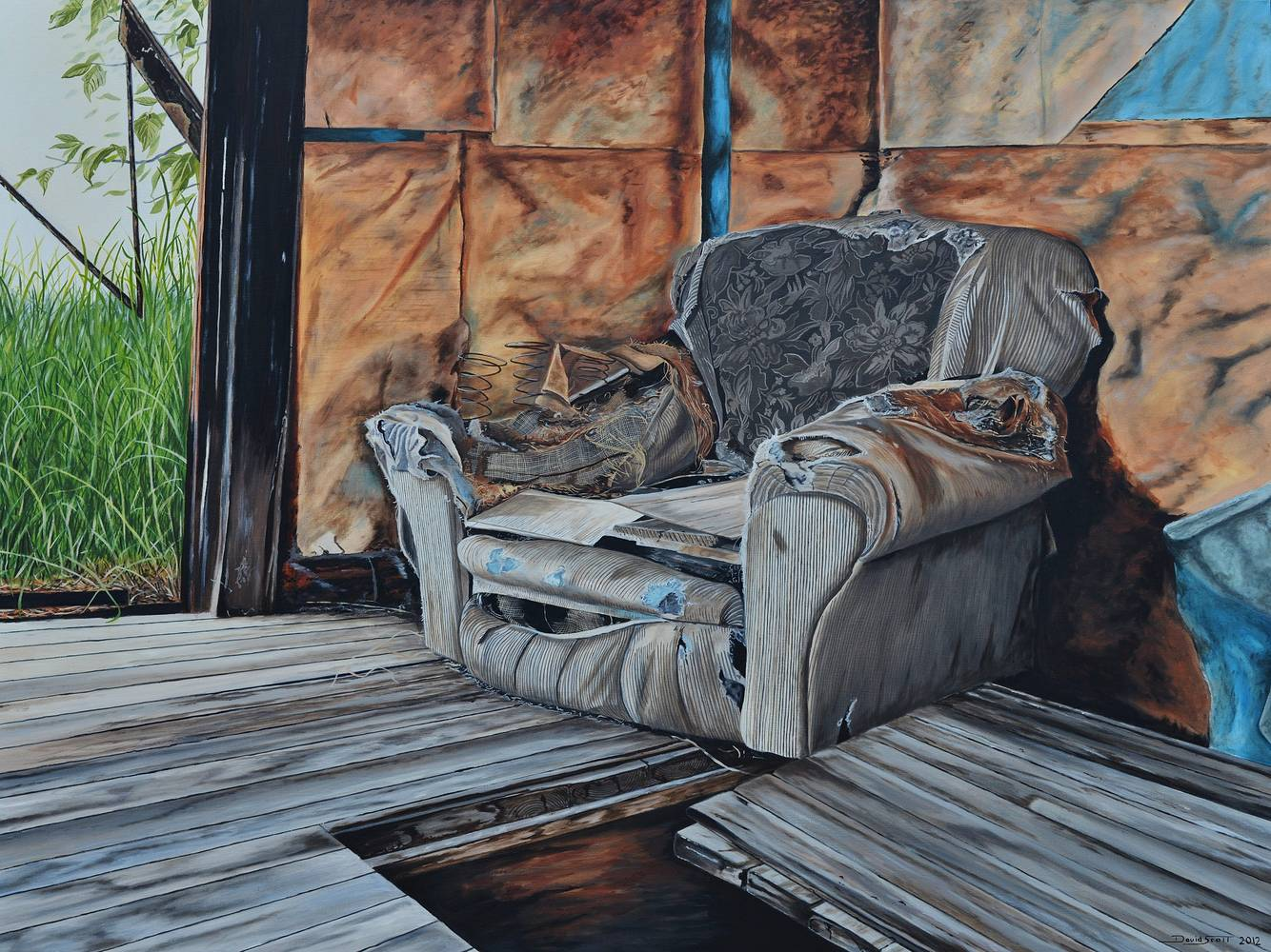 Oil painting Tattered Armchair II by David B. Scott