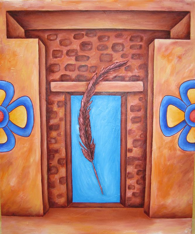 Acrylic painting Pasando por el Portal (Crossing through the Portal) by Emily K. Grieves