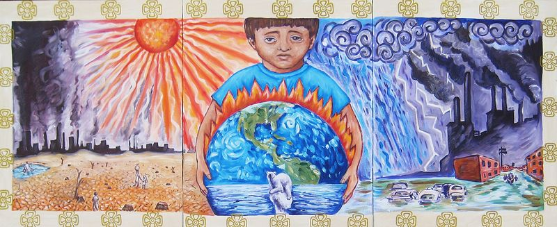 Acrylic painting Global Climate Change by Emily K. Grieves