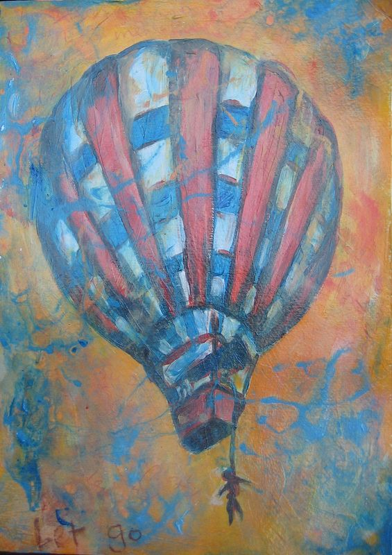 Mixed-media artwork Balloon by Emily K. Grieves