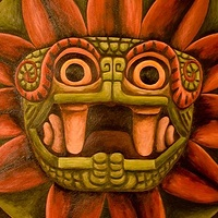 Acrylic painting Quetzalcoatl, detail of mural at Dreaming House by Emily K. Grieves