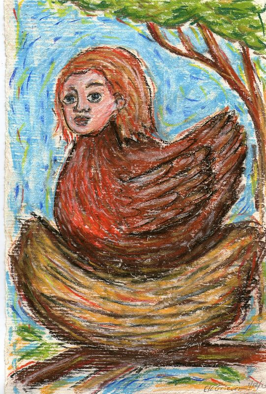 Drawing She-bird by Emily K. Grieves
