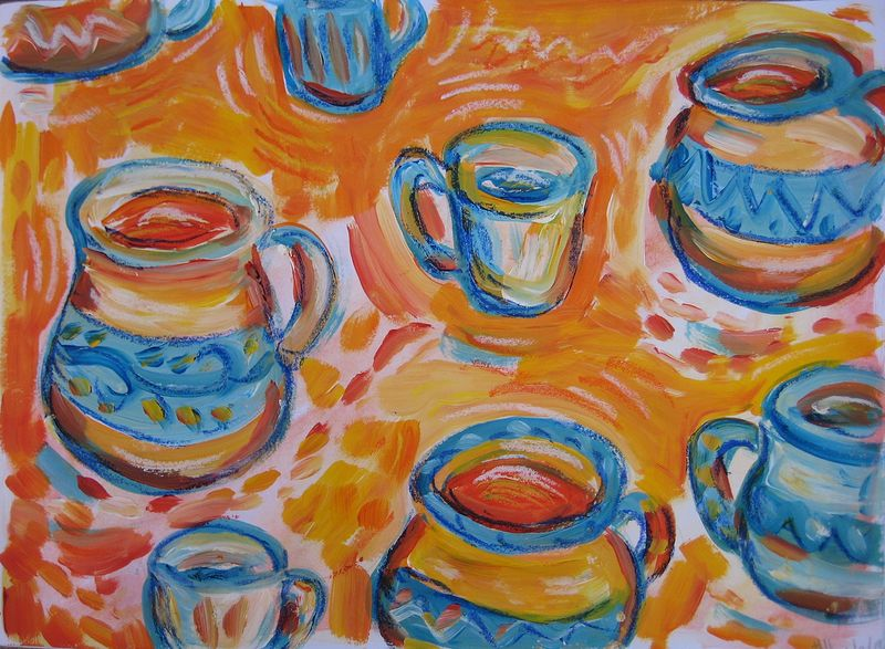 Drawing A cup of xocolatl by Emily K. Grieves