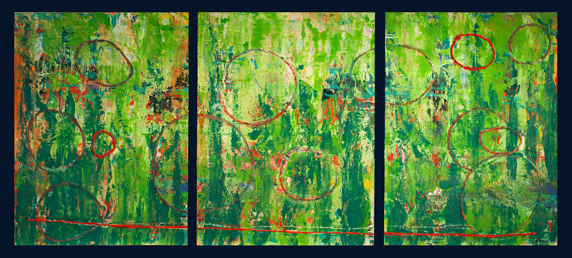 Acrylic painting Cirque (Triptych)     24x54  $2200.00 by Edward Bock