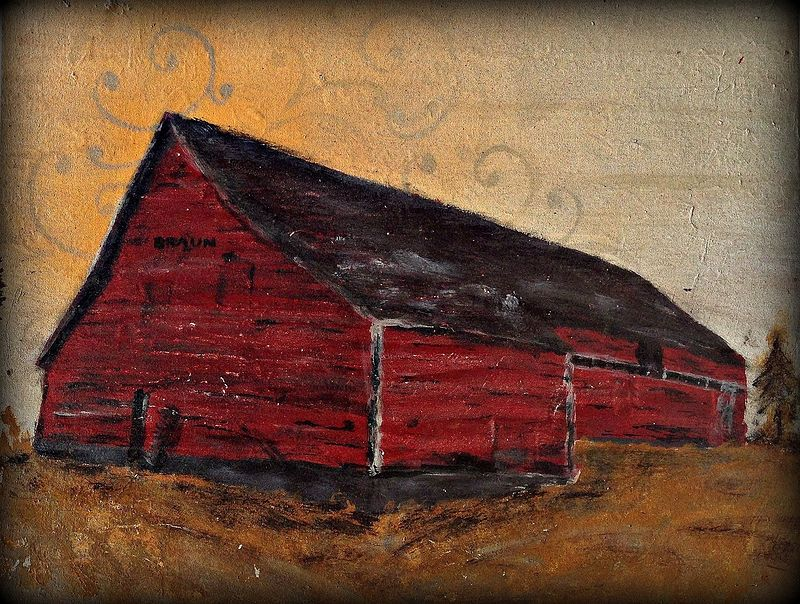 Acrylic painting The  Braun Barn by Carly Jaye Smith