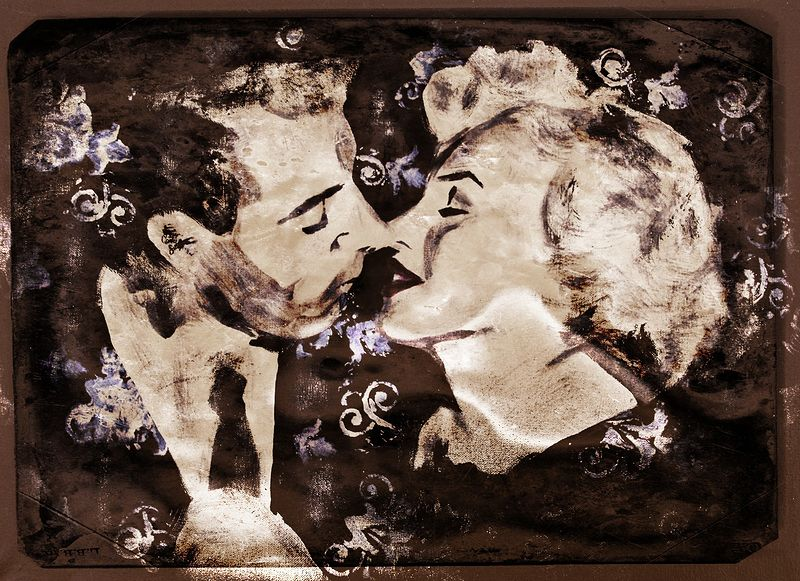 Acrylic painting DiMaggio vs. Monroe by Carly Jaye Smith