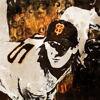 Acrylic painting Lincecum by Carly Jaye Smith