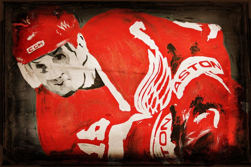 Acrylic painting Stevie Yzerman by Carly Jaye Smith