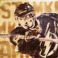 Acrylic painting Stamkos by Carly Jaye Smith