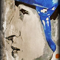 Acrylic painting Gretzky by Carly Jaye Smith