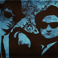 Acrylic painting Blues Bros by Carly Jaye Smith