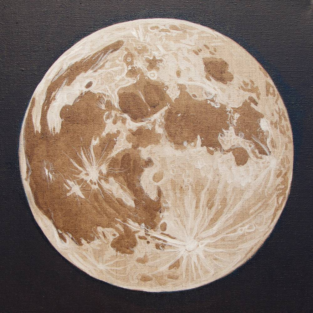 Acrylic painting Moon Portrait 4, Linen Moon by Amber Macgregor