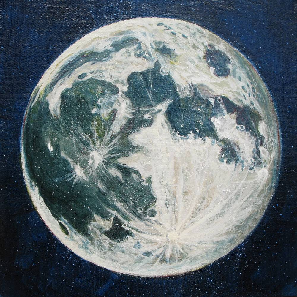 Acrylic painting Moon Portrait 3 by Amber Macgregor