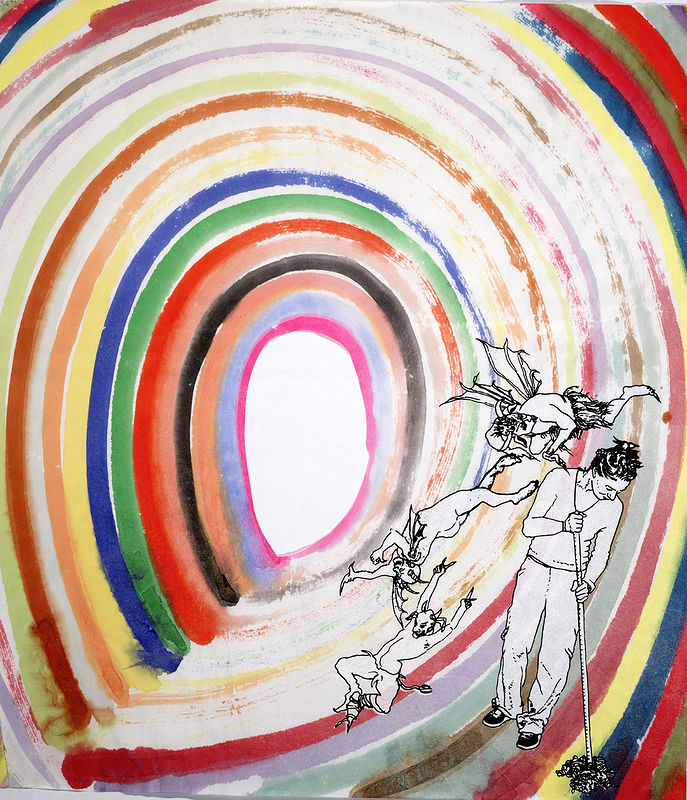 "Expecting Rainbow: 21"" x 17"", watercolor, screenprinting on rice paper, 2010 by Judy Southerland"