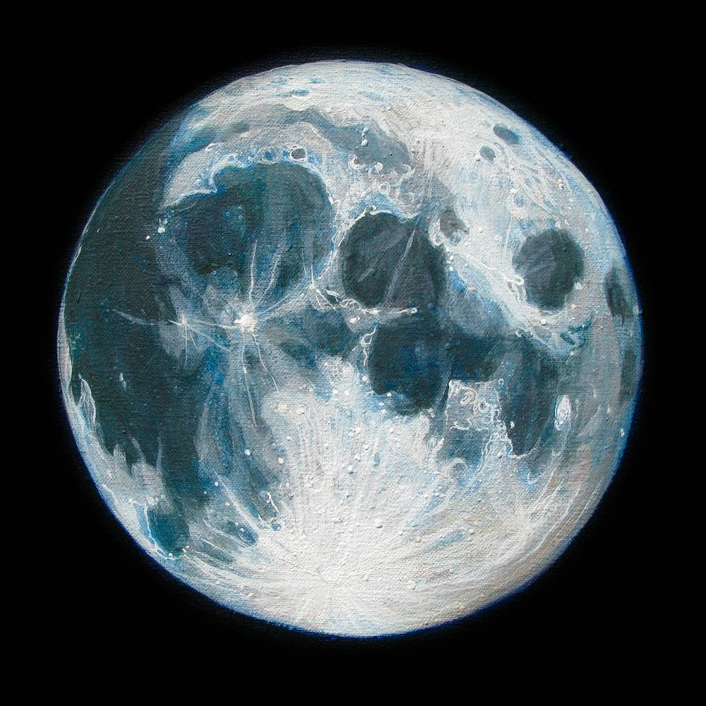 Acrylic painting Moon Portrait 1 by Amber Macgregor