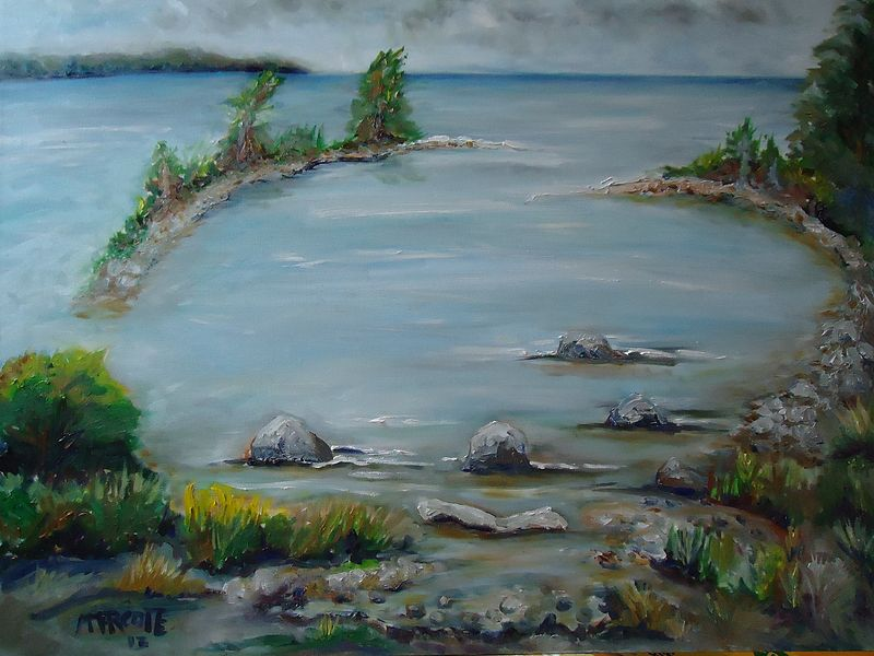 Oil painting Small bay near the marina in Port Elgin Ontario by Michelle Marcotte