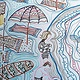 Print Caloundra by the sea, Beach Umbrellas on canvas  by Gwenda Branjerdporn