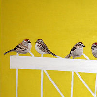 Acrylic painting Telephone Line Chipping Sparrows by Belinda Harrow