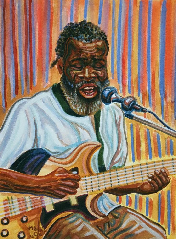 "Watercolor ""Blues Man"" by Melvin Clark"