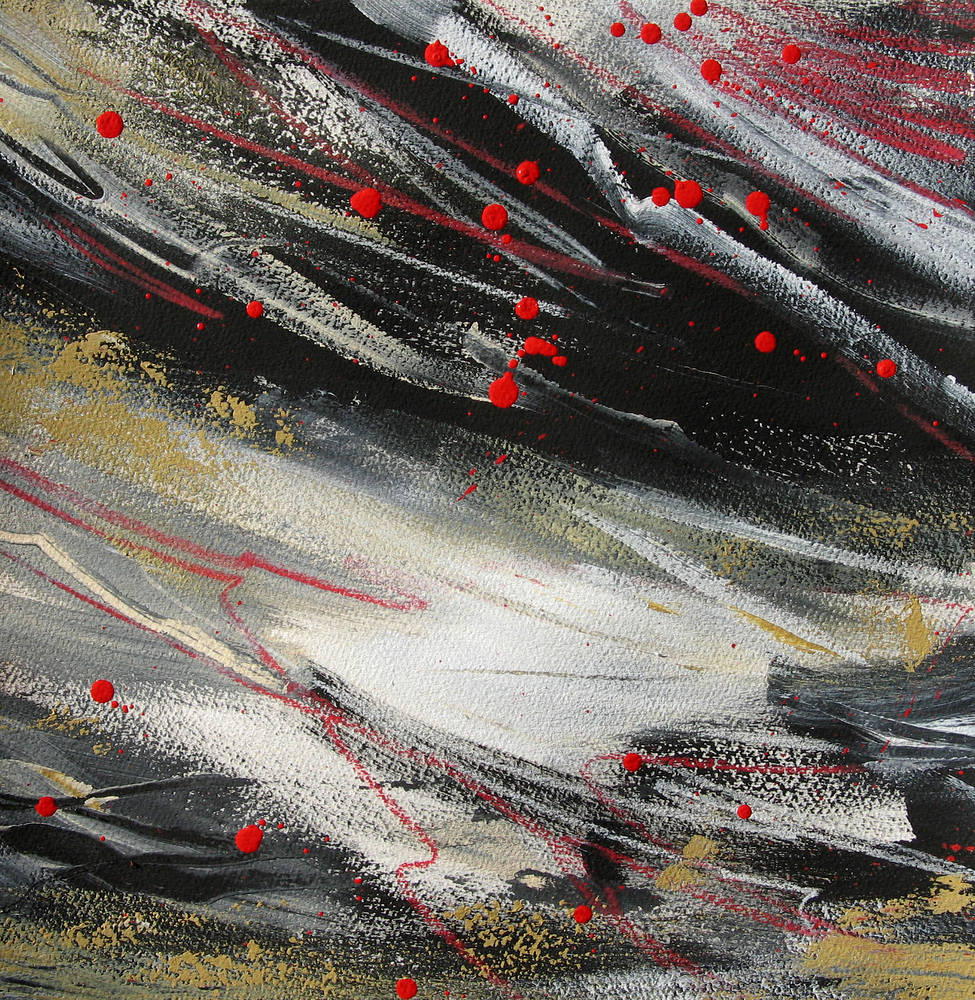 Mixed-media artwork Skyful of Crows by Lori Sokoluk