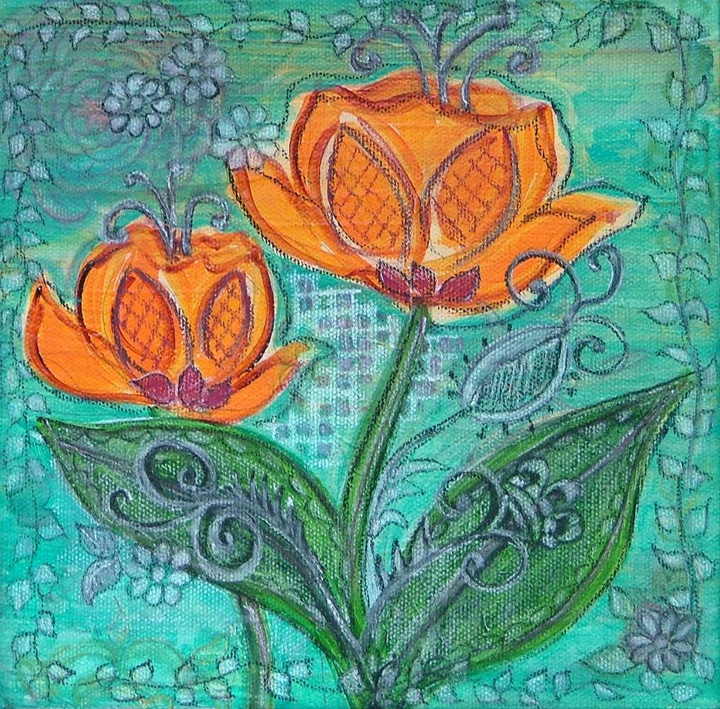 Acrylic painting Teji's Tulips by Carolyn Trotter