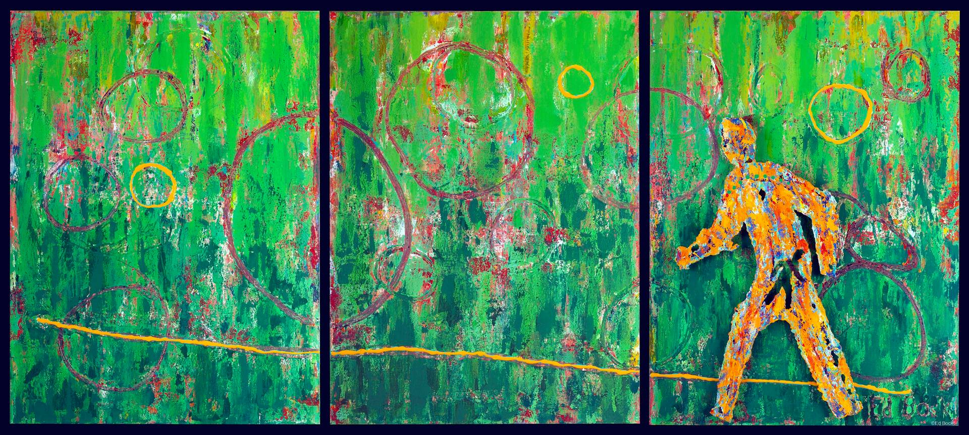 Acrylic painting Ringmaster (Triptych) 48x108 ________(click on the i for info) by Edward Bock