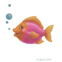 Print Little Fishie April by Sue Ellen Brown