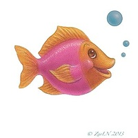 Print Little Fishie Cybill by Sue Ellen Brown