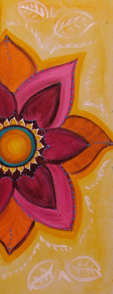Acrylic painting Half Lotus Banner by Carolyn Trotter