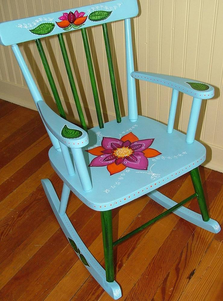 Acrylic painting Child's chair for Vangogo auction by Carolyn Trotter