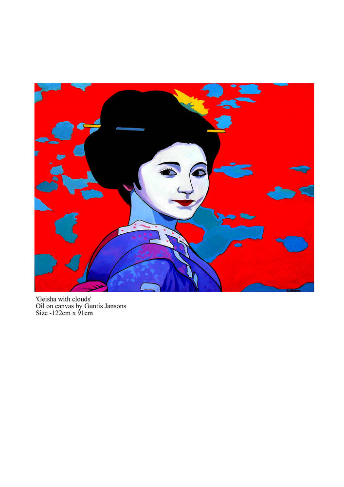 Oil painting Geisha with clouds  by Guntis Jansons