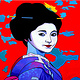 Oil painting Geisha with clouds  by Jodi Jansons