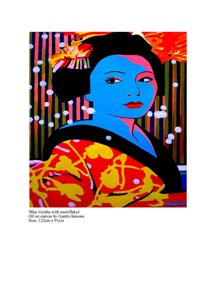 Oil painting Blue Geisha with snowflakes  by Jodi Jansons