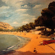 Oil painting Matala beach-Crete  by Guntis Jansons