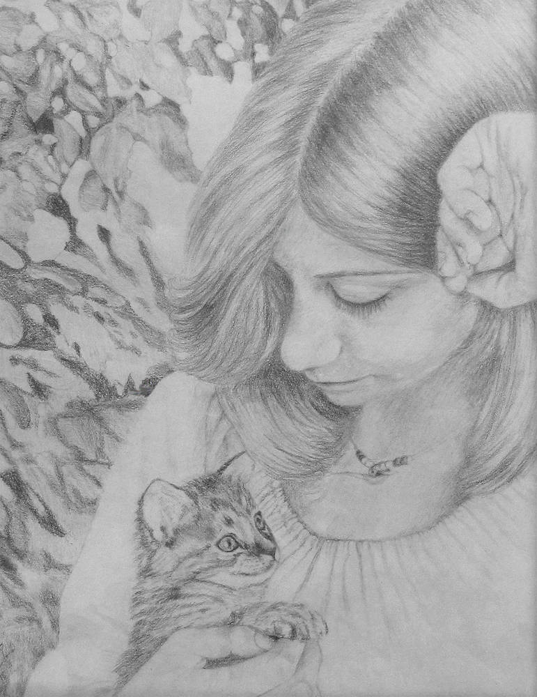 Drawing Lisa and Kitten by Claudette Webb