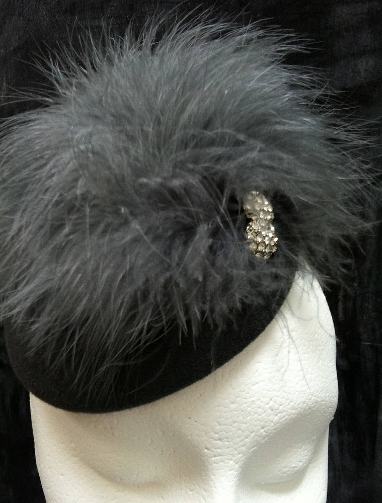 Pewter grey feathered cocktail hat by Fiona Menzies