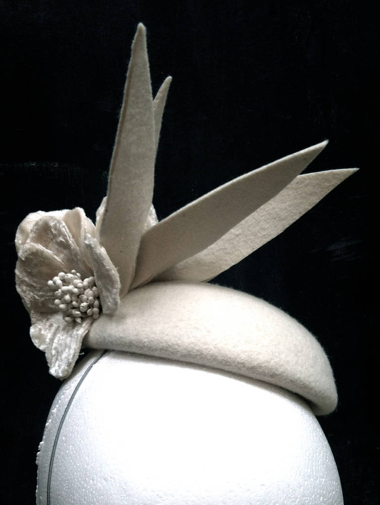 Ivory felt & velvet cocktail hat by Fiona Menzies
