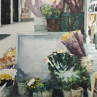 Watercolor Corner Flowers SF by Paul Sershon