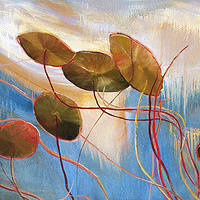 Mixed-media artwork Water lilies 3, 2013 by Sandra  Martin