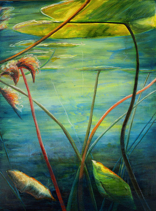 Mixed-media artwork Water lilies 1, 2013 by Sandra  Martin
