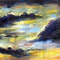 Mixed-media artwork Big Blue Sky, 2012 by Sandra  Martin